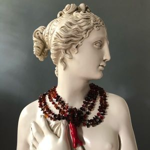 Vintage Cherry Amber and Red Coral Necklace